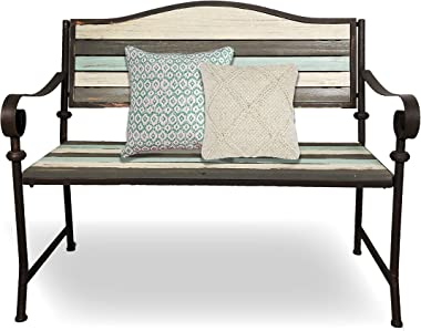 BACKYARD EXPRESSIONS PATIO · HOME · GARDEN 905148 Park Bench, Cream, Brown, Teal
