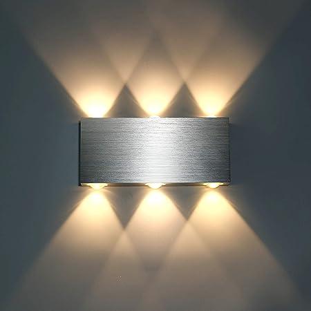 Lightess Applique Murale LED 18W Intérieur Lampe Murale Moderne Carré Up Down en Aluminium Eclairage Décoration Lumière pour Chambre a Coucher Bureau Lit Couloir Salon Hôtel Bar Blanc Chaud