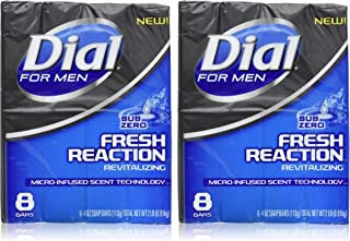 Dial for Men Fresh Reaction, Sub Zero Glycerin Bar Soap, 4 Oz Bars, 8 Count, 2 Pack