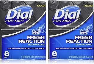 Dial for Men Fresh Reaction, Sub Zero Glycerin Bar Soap, 4 Oz Bars, 8 Count, 2 Pack