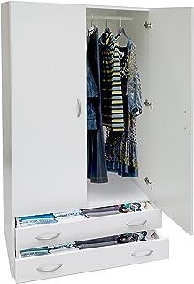 Esidra ar1026Armoire Portes et Deux tiroirs, Bois, Blanc, 80x 52x 170cm