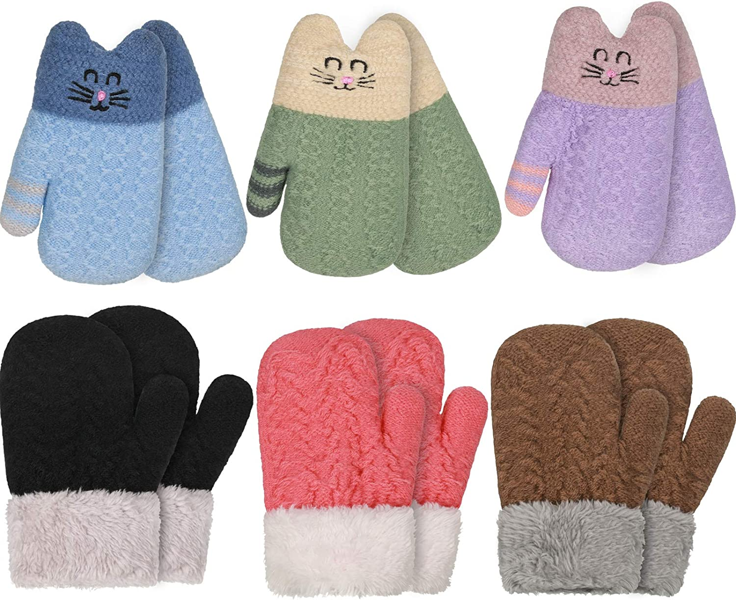 6 Pairs Kids Sherpa Lined Knit Mittens Cute Warm Cat Winter Gloves Furry Cuff Knitted Gloves for Boys Girls Baby Toddler Infant Newborn