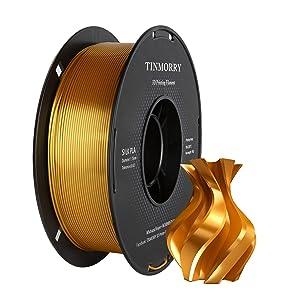 Filament 1,75 PLA Silk Gold Plus, Filament 3D TINMORRY Filament PLA 1,75 mm, matériaux d'impression 3D 1 kg Spool