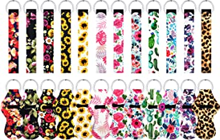 12 Pairs Sunflower Chapsticks Holder Keychains with Key Wristlet Bulk