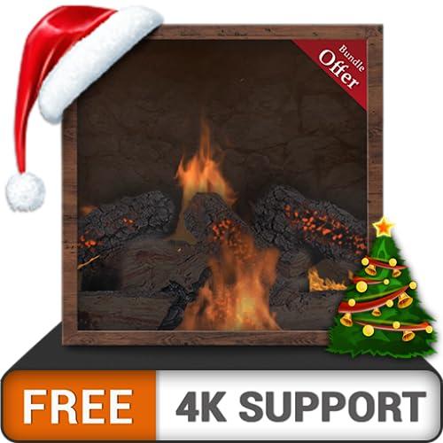 felsiger Kamin - verbringen Sie eine romantische Nacht mit Ihrem Partner in den Weihnachtsferien auf Ihrem HDR 8k 4k Fernseher und Feuergeräten als Hintergrundbild und Thema für Mediation und Frieden