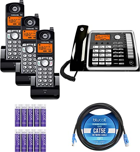 2021 Motorola new arrival ML25260 2-Line Corded Phone with Full Duplex Speakerphone & Caller ID/Call Waiting Bundle with 3-Pack of ML25055 DECT 6.0 Cordless Handsets, Blucoil 10' Cat5e Cable, outlet sale and 10 AAA Batteries online sale