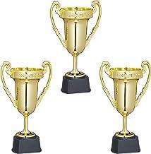 Relaxdays Pokal, set van 3, sport en party, trofee zonder gravure, kunststof, handvat pokal HBT: 22,5 x 13,5 x 8,5 cm, goud
