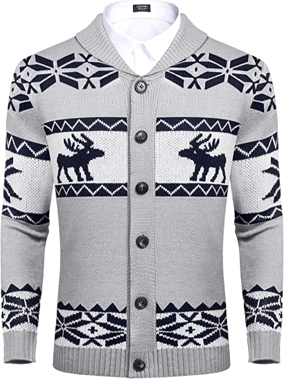Men's Vintage Sweaters, Retro Jumpers 1920s to 1980s COOFANDY Mens Christmas Reindeer Snowflake Cardigan Sweater Shawl Collar Knitted Cardigans Button Down Knitwear  AT vintagedancer.com