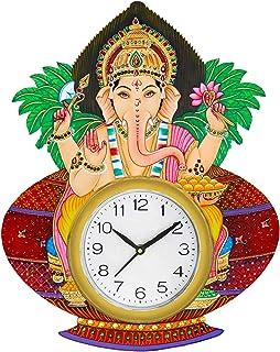 Shiva arts Ajanta Lord Ganesha Hand-painted Beautifully Handicrafted UV Printed Wooden Wall Clock (Multicolor, 13 x 16 Inc...