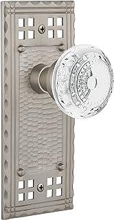"Nostalgic Warehouse 753143 Craftsman Plate Privacy Crystal Meadows Door Knob, Backset Size: 2.375"", Satin Nickel"