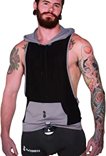 Mens Cut Off Athletic Hoodie – Guys Fitness Tank Top for Rave EDM Festival Gym