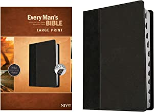 Every Man's Bible NIV, Large Print, TuTone (LeatherLike, Onyx/Black, Indexed) – Study Bible for Men with Study Notes, Book...