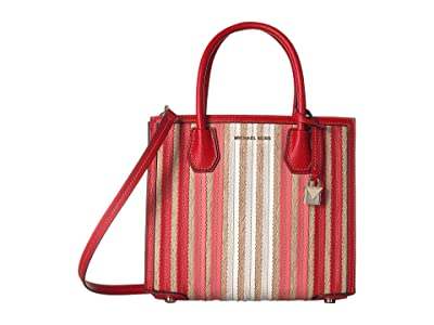 MICHAEL Michael Kors Mercer Medium Accordion Convertible Tote (Bright Ruby) Handbags