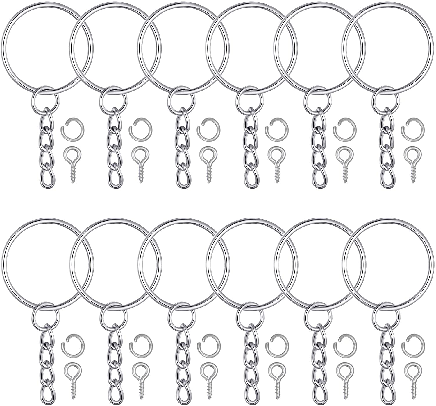 Raleigh Mall 100Pcs Keychain Rings 1 Inch 25mm Silver Key with Fashionable 10 Chain