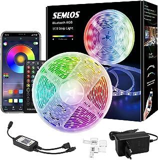 Semlos LED Strip, 5M Bluetooth Wasserdicht RGB Musik LED Streifen, App-steuerung und Fernbedienung 300 LEDs mit 16 Million...