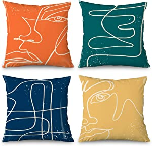 Abstract Modern Aesthetic Decorative Pillow Covers Set of 4,Farmhouse Fall Outdoor Pillowcase Cushion Cases 18x18 Inch, Mid Century Home Decor Art Yellow Orange and Navy Blue Throw Pillow Covers