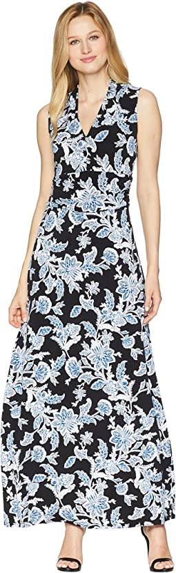 Vince Camuto Woodblock Floral Halter Maxi Dress