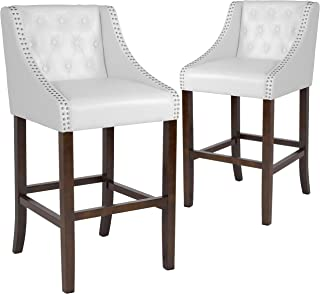 Taylor + Logan 30 Inch High Transitional Tufted Walnut Barstool with Accent Nail Trim, Set of 2, White Leather