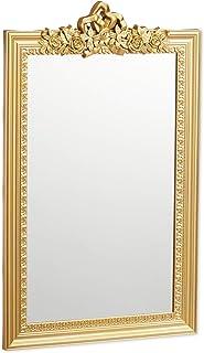 Relaxdays 10025535_259 Baroque, Miroir rectangulaire à accrocher, Design Antique, Couloir, Salle de Bain, doré, PP, Verre,...