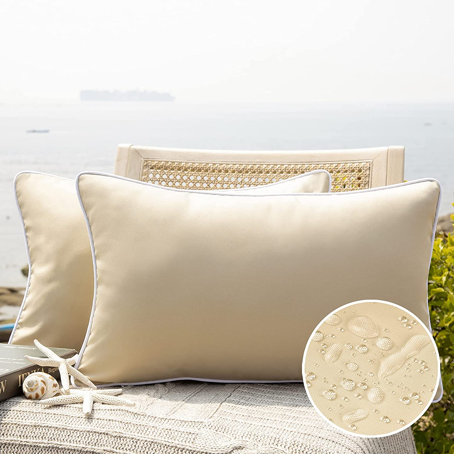 Phantoscope Pack of 2 Outdoor Waterproof Throw Pillow Covers Decorative Square Outdoor Pillows Cushion Case Patio Pillows for Couch Tent Sunbrella, Beige 12x20 inches 30x50 cm : Garden & Outdoor