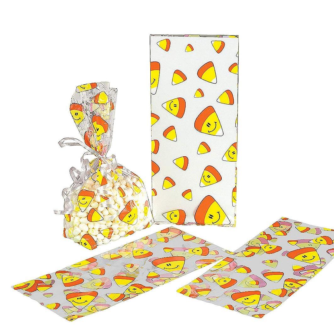 Fun Express - Smile Face Candy Corn Cello Bags for Halloween - Party Supplies - Bags - Cellophane Bags - Halloween - 12 Pieces