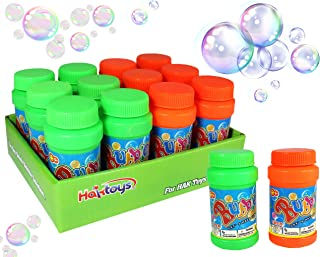 """Haktoys (12 Pack 2 Fl Oz Bubble Bottles Replacement Refills Solutions Compatible with Most Bubble Guns/Shooters/Machines, Cap Diameter: 1.2"""", Safe and Non-Toxic, Wand Not Included, Colors May Vary"""