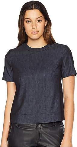 Short Sleeve Button Back Top - Dressy Denim