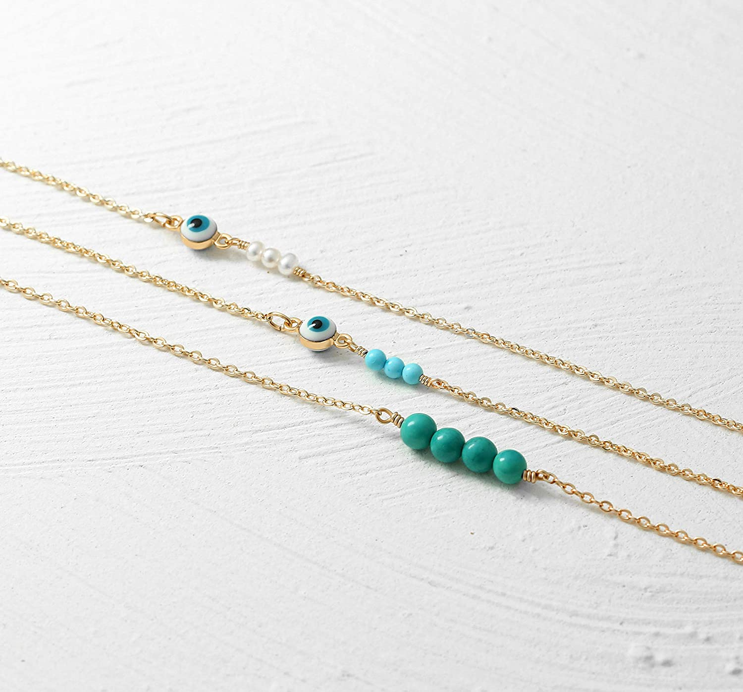 MEVECCO Dainty Evil Eye Protection Necklace,14K Gold Plated Cute Delicate Handmade Tiny Bead Necklace for Women
