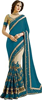 Nivah Fashion Women's Satin & Net Embroidery Work Saree with Blouse Piece (K663-Morpeach)
