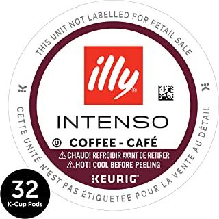 Illy Coffee, Intense & Robust, Intenso Dark Roast Coffee K-Cups, Made With 100% Arabica Coffee, All-Natural, No Preservatives, Coffee Pods for Keurig Coffee Machines, K-Cups, 32 K Cup Pods,, 13.4 Oz