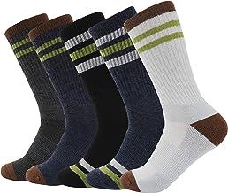 +MD 5-pack Merinoswol-wandelsokken voor heren, thermische, warme gestreepte gewatteerde atletische sokken