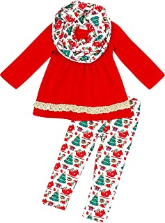 أزياء Boutique Clothing للأطفال الصغار الفتيات الصغار Tis The Season Merry Christmas Santa Reindeer Top Bottom أوشحة