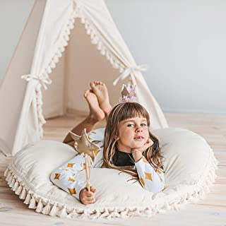 Large Floor Cushion for Kids Room - Round Floor Pillow from Natural Canvas with Tassels Decor