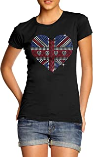 66471aca7b Twisted Envy Women's Union Jack Heart Rhinestone Diamante T-Shirt