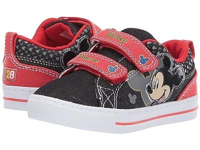 Josmo Kids Mickey Low Top Canvas (Toddler/Little Kid) (Black/Red) Boy