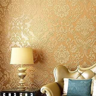 Blooming Wall Peel&Stick Textured Damasks Prepasted Wallpaper Wall Mural, (Gold)