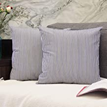 JOJUSIS Cotton Woven Striped Throw Pillow Covers Soft Solid Farmhouse Classic Decorative Cushion Pillowcases for Sofa Bedroom Car 20 x 20 Inch Blue Pack of 2