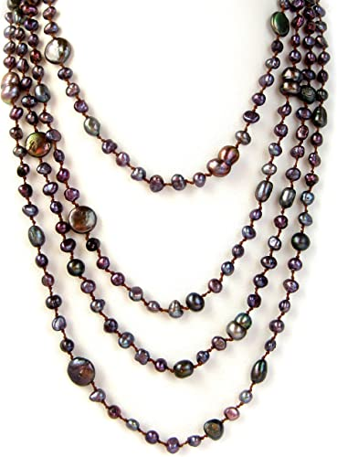 HinsonGayle 4-Strand Handwoven Ultra-Iridescent Freshwater Cultured Pearl Necklace