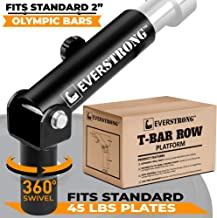 EVERSTRONG T Bar Row Olympic Bars - Gym Equipment for Landmine Attachment - Heavy Duty Steel for Home Fitness Workouts - T-Bar Row for Two Inches Olympic Bar