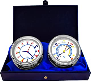 """Master-Mariner American Voyager Collection, Nautical Windlass Gift Set, 5.85"""" Diameter Clock and Barometer Instruments, Chrome Finish, Ivory Signal Flag dial"""