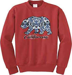 Cybertela Big Aztec Blue California Republic Bear Crewneck Sweatshirt