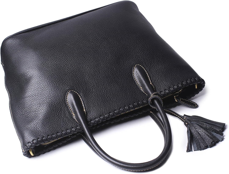Borgasets Women Top Handle Satchel Handbags Tote Purse Tassels Leather Tote Bag Black