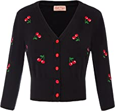 Belle Poque Women's 3/4 Sleeve V-Neck Button Down Cherries Embroidery Cropped Cardigan Sweater Coat