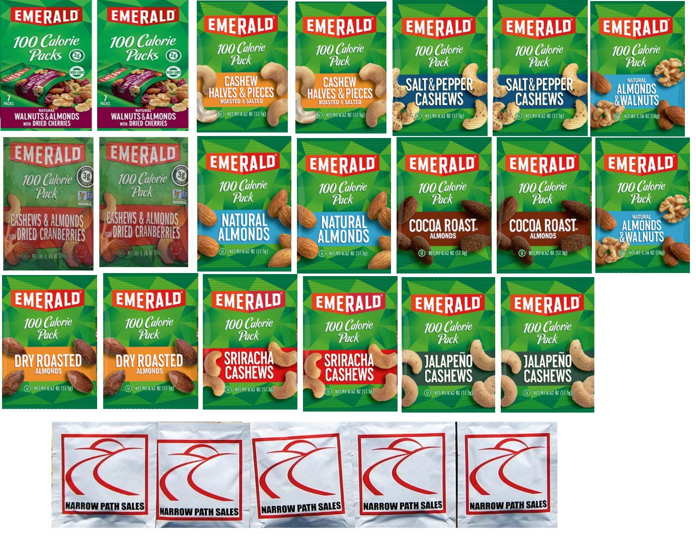 Emerald Cashew Almond Nuts 100 Same day shipping Calorie Variety - P Credence Sampler Packs