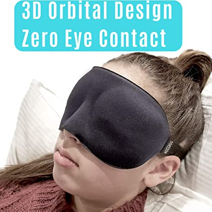 ❤️ HugSnug ❤️ - Sleep Mask 3D Eye Mask Memory Foam with Large Eye Cavity Blindfold and Sleeping Aid Deep Orbital Design for Sleeping in Total Comfort Ideal for REM Sleepers Men Woman and Kids Blocks Light