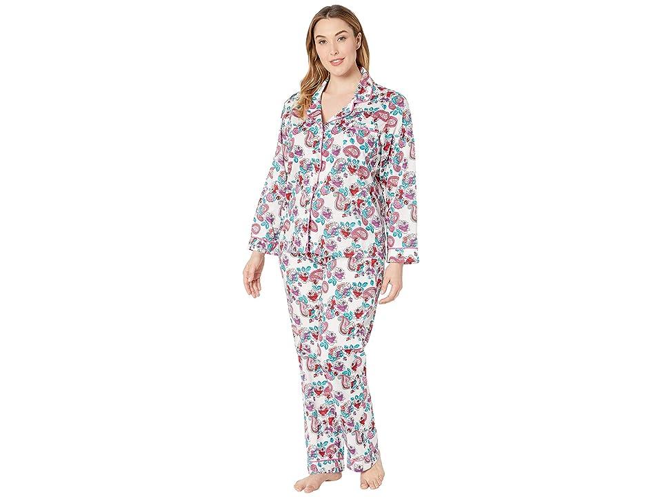 BedHead Pajamas Plus Size Long Sleeve Classic Notch Collar Pajama Set (Eastern Roses/White Ground) Women