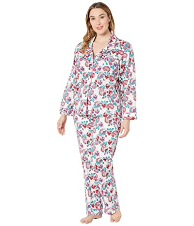 BedHead Pajamas Plus Size Long Sleeve Classic Notch Collar Pajama Set (Eastern Roses/White Ground) Women