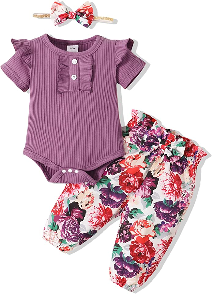 Newborn Infant Baby Girl Clothes Romper Onesie Floral Pant Outfits Set Cotton Baby Clothes Girl