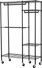 Muscle Rack EZGR4818RW3-BLK 4-Shelf Steel Garment Rack in Chrome with Wheels, 150 lb. Load Capacity, 74