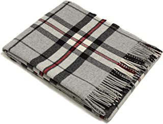Bronte Throw Blanket - Tartan Throw - Merino Lambswool (Gray Thompson)
